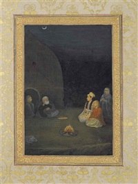 a prince and princess visiting a hermit at night by hashim