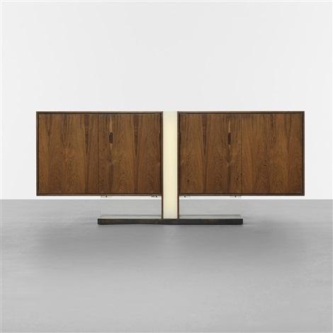 rare illuminated cabinet, model 7033 by vladimir kagan