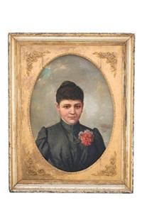 retrato de dama con clavel by tomas povedano de arcos