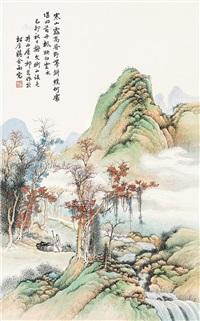 青绿山水 立轴 纸本 by qi kun