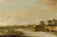 weite flusslandschaft mit deich, die silhouette einer windmühle im hintergrund by cornelis de bie