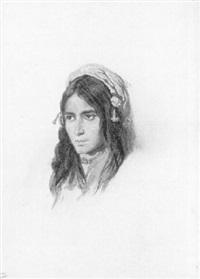 tête d'une jeune bohémienne by théodore valerio