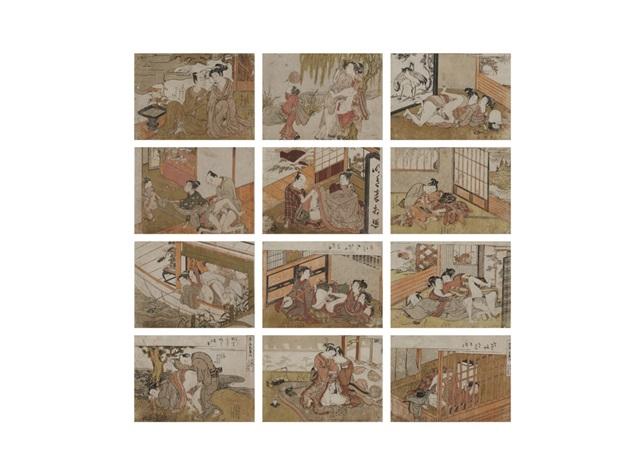 shunga 12 works by isoda koryusai