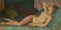 femme allongée au bracelet by constantin font