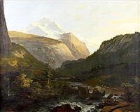 the jungfrau massif from a torrent by johann georg volmar