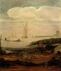 a river landscape with a fisherboy mending a net seated on a punt on the shoreline, other shipping beyond by arent (cabel) arentsz