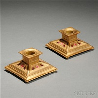 pair of tiffany furnaces low candlesticks by tiffany studios