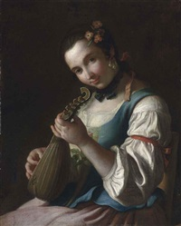 a young woman in rural dress, playing a lute by pietro antonio rotari