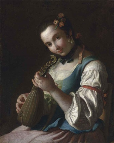 a young woman in rural dress playing a lute by pietro antonio rotari