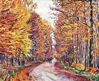 georgenborn, la route de wiesbaden en forêt, automne by gustave camille gaston cariot
