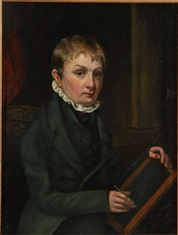 portrait of young man holding a writing slate (self-portrait?) by william mercer