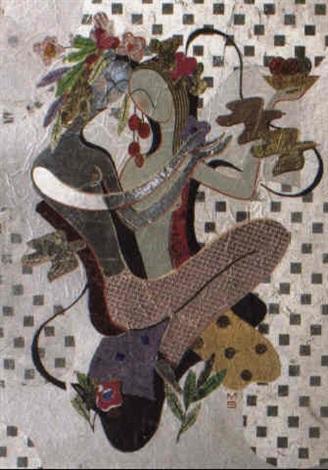 zwei mädchen mit blütenkranz obstschale und vögeln by max snischek