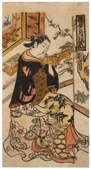 ageya kotatsu yu jo fu - attitude d'une courtisane de la maison (hosoban) by okumura toshinobu