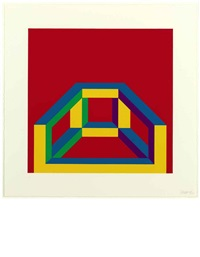 isometric figure with bars of color by sol lewitt