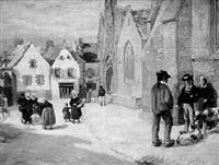 pont-croix - scène de marché sur la place de l'église by alfred victor fournier