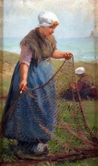 fishergirl with nets by edith hume