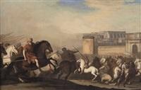 battaglia tra cavallerie turche e cristiane; battaglia in campo aperto (2 works) by aniello falcone and andrea da lione