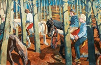 equestrians in the woods by karl adser