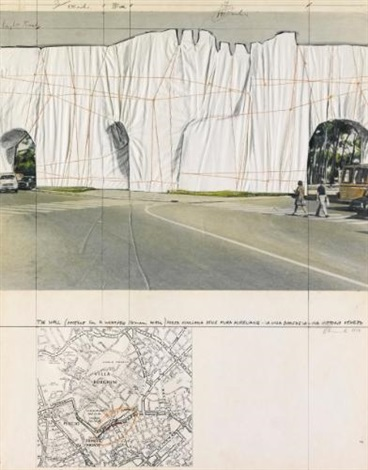 the wall project for a wrapped roman wall porta pinciana delle mura aureliane by christo and jeanne claude