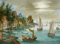 figures disembarking boats before a river landscape by jan frans van bredael the elder