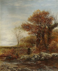 a woman by a river near a cottage with man driving cattle on horseback beyond by charles thomas burt