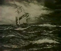 sailing in stormy seas by henri louis scott