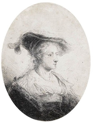 bust of a young lady with a plumed cap saskia bearded old man profile to the right 2 works by ferdinand bol