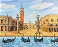 venise, marée haute sur la piazzetta by georges morlaas