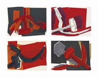 hammer and sickle (set of 4) by andy warhol