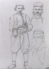 sketches of turks by théodore valerio