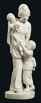 woman with her two young children by meido