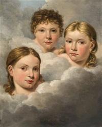 drei kinderköpfe in wolken by hillebrand dirk loeff