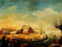 paysage hivernal animé by albert eduard moerman