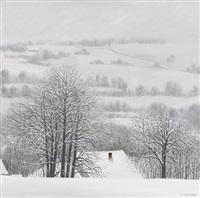 verschneite hügellandschaft by claude sauthier