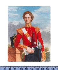 an officer of the 43rd monmouthshire light infantry, wearing scarlet coat with gold epaulettes and collar, white cross belt with gold belt plate by michael bartlett
