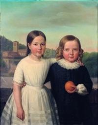 portrait de deux enfants sur fond de paysage by jean marie jacomin