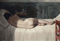 reclining nude by helge helme