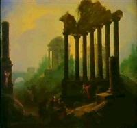ideale landschaft mit romischen ruinen, einem rundtempel  und figuren by vinzenz fischer