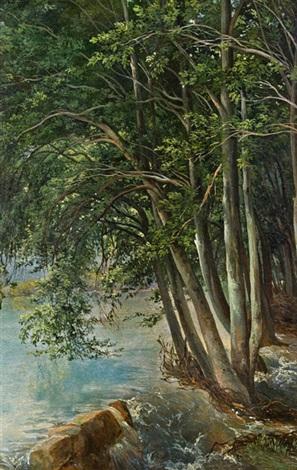 waldstudie mit überschwemmtem flussufer study by alexandre calame