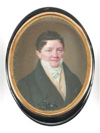 portrait d'homme à la redingote anthracite et au gilet crème by ferdinand machera
