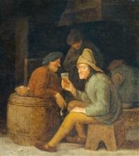 drinkende en rokende boeren in een herberg by pieter harmensz verelst