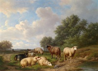 landschaft mit rastenden schafen by alexander joseph daiwaille
