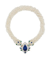 important tanzanite, diamond, sapphire, emerald, and cultured pearl necklace by tiffany & company