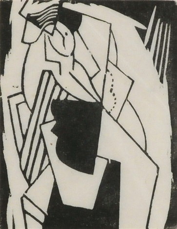 femme assise avec chapeau by gino severini