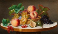 nature morte aux pêches, raisins et figues by ange louis guillaume lesourd-beauregard