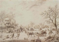 a winter landscape with skaters, kolf players and elegant townsfolk on a frozen river by adriaen van salm