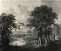 a wooded river landscape with a shepherd piping at the foot of a tree by samuel mygind