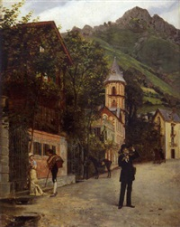 village animé dans les dolomites by auguste de (breley) labrely