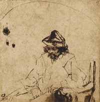 a seated man wearing a hat by aert de gelder