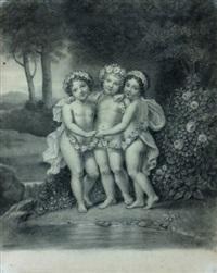 trois enfants entourés d'une guirlande by étienne charles leguay